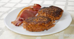 Sweet Potato & Banana Fritters with Smoked Bacon