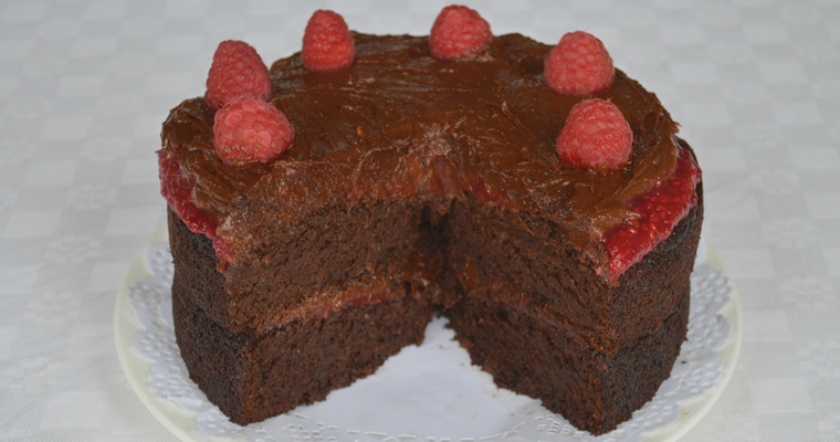 Greg's Gluten-free Chocolate Raspberry Layer Cake with Dairy-free Chocolate Fudge Frosting