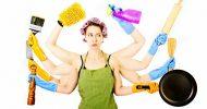 A stressed woman multitasking