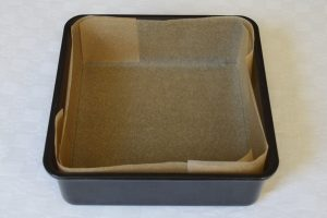 Lining a Square Cake Tin - complete